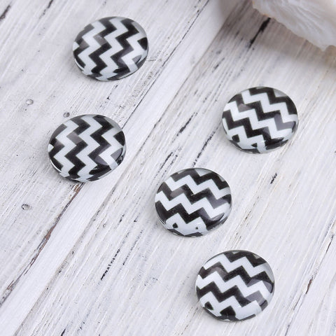 12mm black white cabochons - 12mm chevron cabochons - 12mm flat round cabochon - 12mm glass cabochon - 12mm Printed Cabochons (2326)