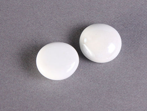 White AB handmade glass cabochons - Glass pebble - White flat round cabochons - Opaque cabochons - 12mm to 17mm (2331)