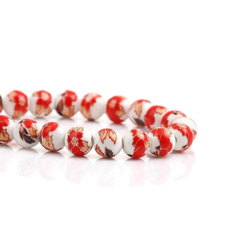 8mm Red brown white flower beads - 8mm ceramic round bead - 8mm ceramic porcelain beads (2353)