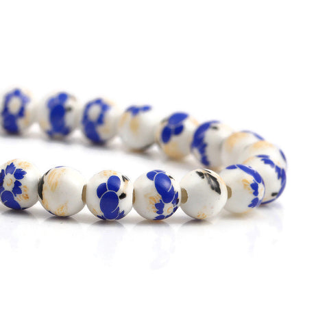 8mm Blue gold black white flower beads - 8mm ceramic round bead - 8mm ceramic porcelain beads (2352)