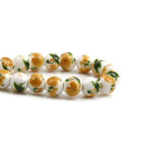 8mm yellow green white flower beads - 8mm ceramic round bead - 8mm ceramic porcelain beads (2357)