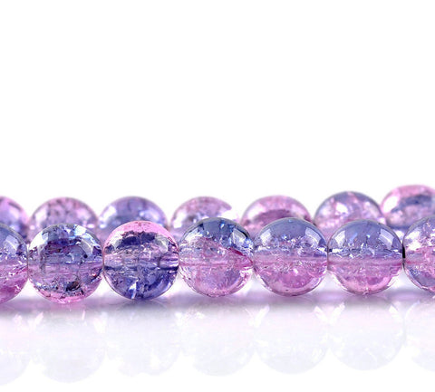 8mm pink blue crackled beads - 8mm mix color crackle beads - 8mm round glass beads (2366)