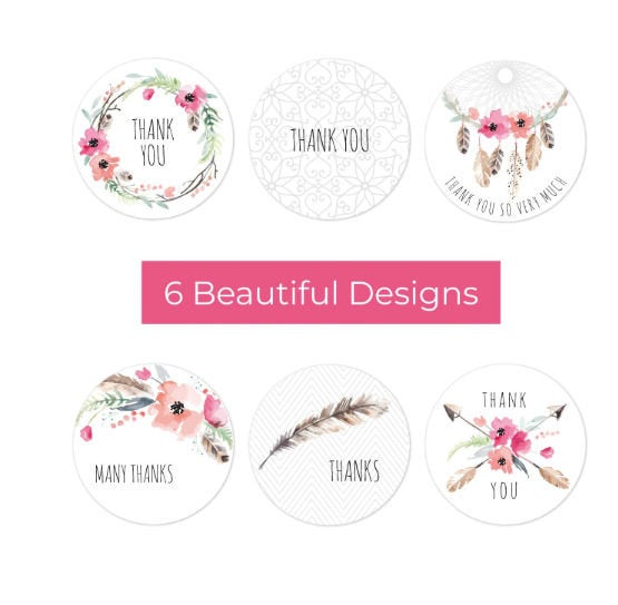 "Thank you stickers - Thank you flowers labels - 1"" round labels - Flowers message label - floral thank you sticker - Mixed label (2342)"