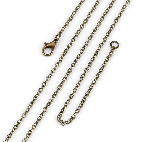 "20"" length - Antique brass necklace 20"" - Cable Chain with Lobster Clasp - 20 inches - Nickel free - Lead free (2384)"