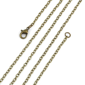 "20"" length - Antique brass necklace 20"" - Cable Chain with Lobster Clasp - 20 inches - Nickel free - Lead free (2389)"