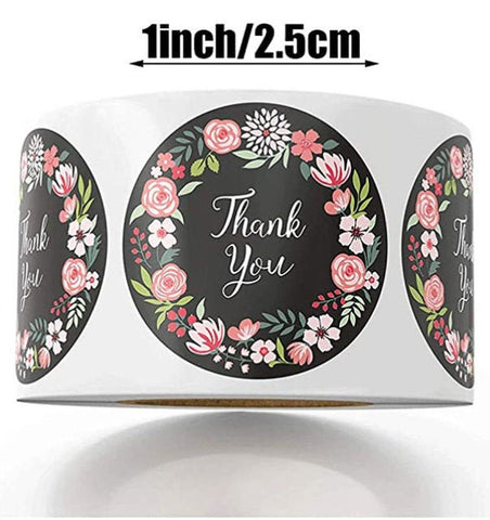 "Thank you stickers - Thank you flowers labels - 1"" round labels - Flowers message label (2362)"