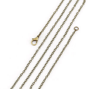 "24"" length - Antique brass necklace 24"" - Cable Chain with Lobster Clasp - 24 inches - Nickel free - Lead free (2392)"