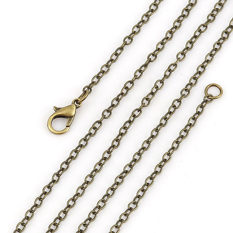 "18"" length - Antique brass necklace 18"" - Cable Chain with Lobster Clasp - 18 inches - Nickel free - lead free (2399)"