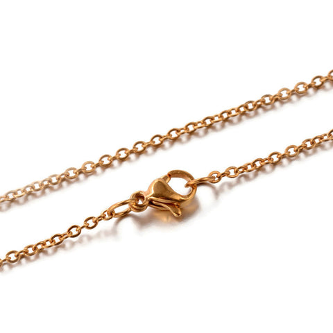 "18"" length - Stainless steel necklace 18"" - Vacuum Plating - Gold color chain 2.5mm x 1.5mm - Cable with Lobster Clasp - 18 inches (2413)"
