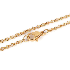 "18"" length - Stainless steel necklace 18"" - Gold color chain 2mm x 1.5mm - Cable with Lobster Clasp - 18 inches (2414)"