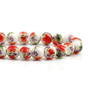 8mm Red purple green white flower beads - 8mm ceramic round bead - 8mm ceramic porcelain beads (2354)