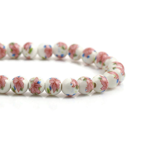 8mm pink blue green white flower beads - 8mm ceramic round bead - 8mm ceramic porcelain beads (2356)