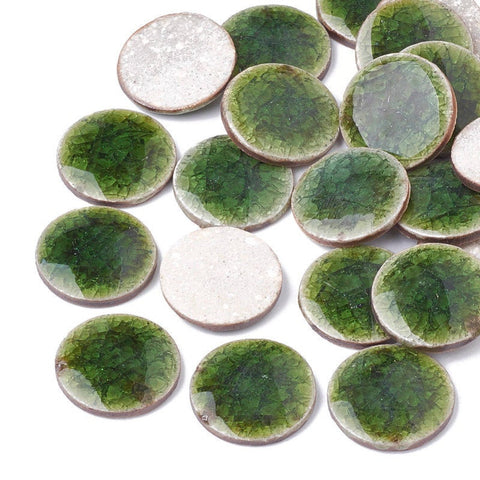 20mm Green handmade porcelain cabochons - 20mm crackle porcelain cabochons - 20mm round cabochon (2149)