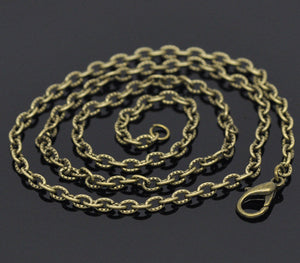 "18"" length - Antique brass necklace 18"" - Textured Cable Chain with Lobster Clasp - 18 inches - Nickel free - Lead free (2388)"