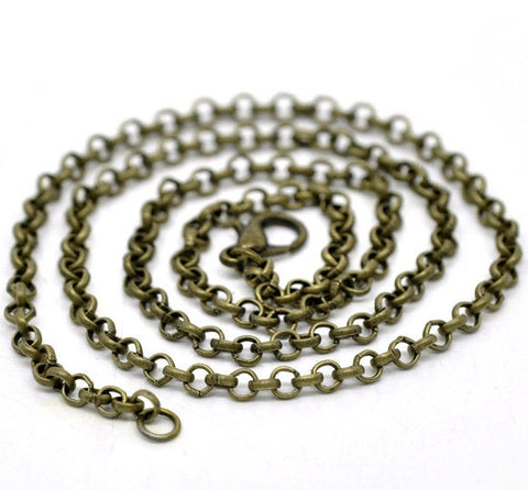 "20"" length - Antique brass necklace 20"" - Cable Chain with Lobster Clasp - 20 inches - Nickel free - Lead free (2390)"