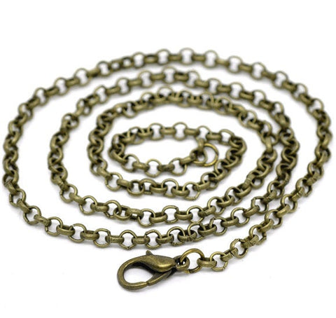"18"" length - Antique brass necklace 18"" - Cable Chain with Lobster Clasp - 18 inches - nickel free - lead free (2393)"