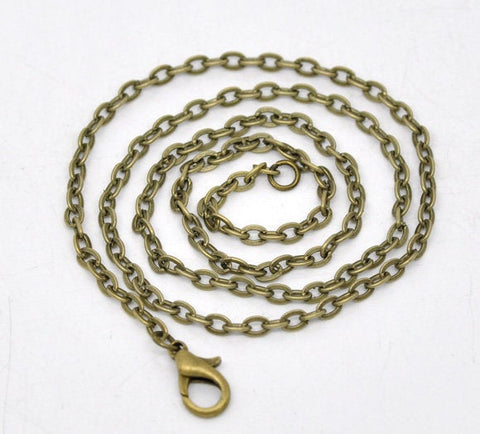 "18"" length - Antique brass necklace 18"" - Cable Chain with Lobster Clasp - 18 inches (2398)"
