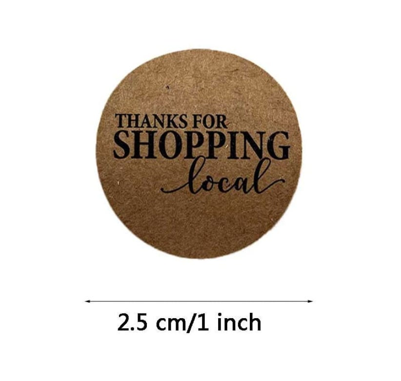 "Thanks for shopping local stickers - Thank you stickers - Thank you labels - 1"" round labels - message label (2402)"