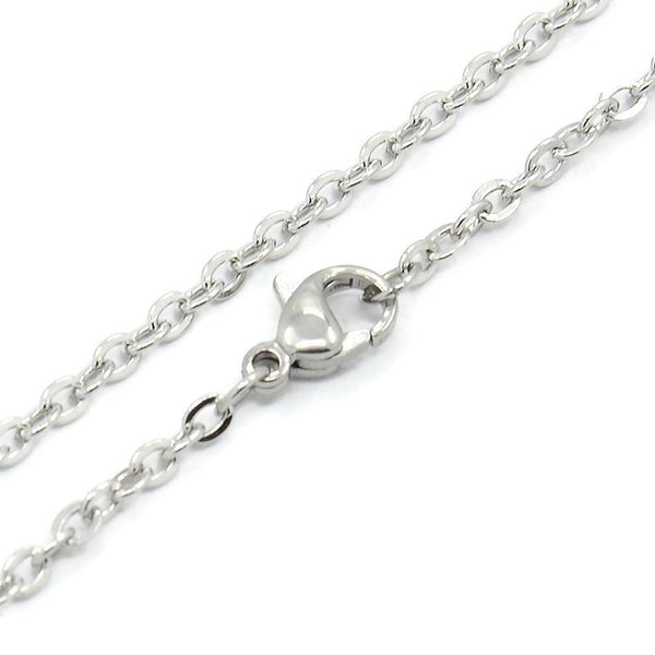 "24"" length - Stainless steel necklace 24"" - Cable chain 2.6mm x 2mm - Cable Chains with Lobster Clasps - 24 inches (2406)"
