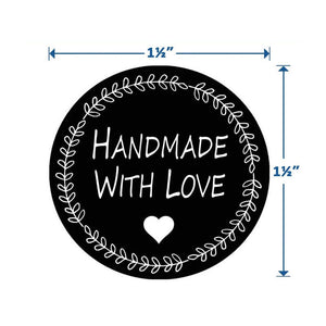 "Handmade with love stickers - Handmade with love labels - 1.5"" round labels - Message label (2320-heart)"