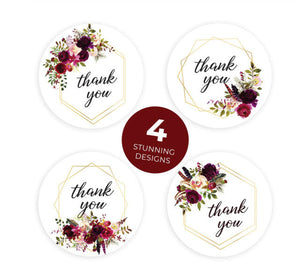 "Thank you stickers - Thank you flowers labels - 1"" round labels - Flowers message label - floral thank you sticker - Mixed label (2422)"