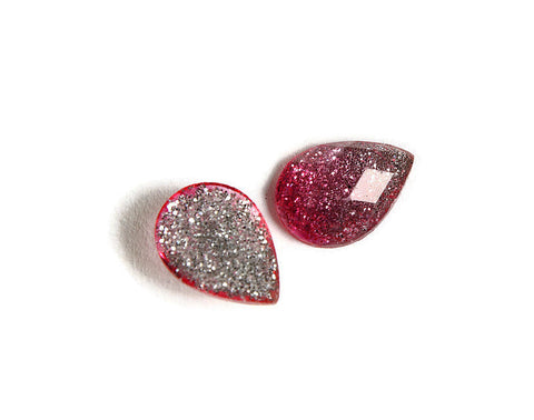 Pink silver teardrop cabochon - Gradient sparkly cabochon - Galaxy glitter cabochon - Kawaii cabochon - 14mm x 10mm (1715)