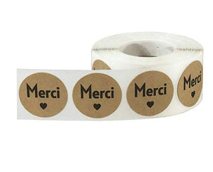 "Merci stickers - French Thank you messagestickers - Merci heart labels - 1"" round labels - Kraft and black color (2416)"