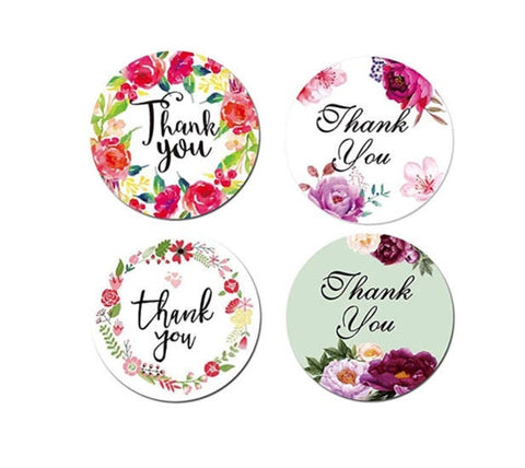 "Thank you stickers - Thank you flowers labels - 1"" round labels - Flowers message label - floral thank you sticker - Mixed label (2424)"