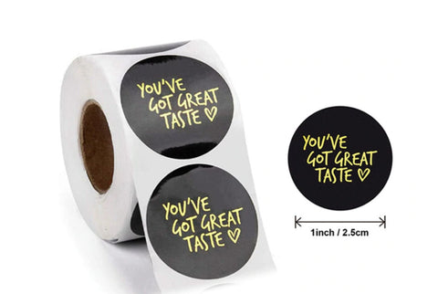 "You've got great taste sticker - Black and gold stickers - Thank you heart labels - 1"" round labels - 25mm message label (2444)"
