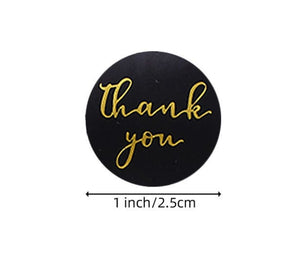 "Thank you Black and gold stickers - Thank you labels - 1"" round labels - 25mm message label (2443)"