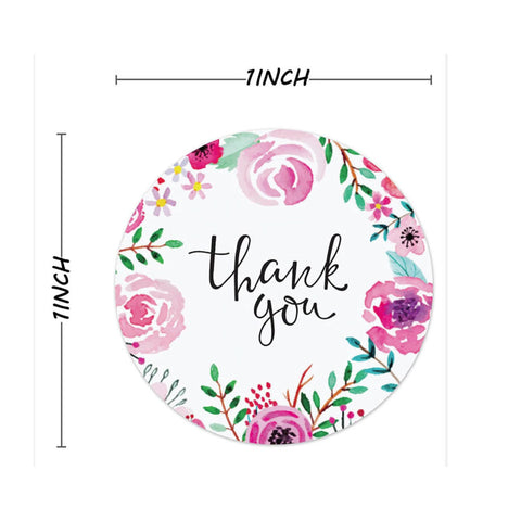 "Thank you stickers - Thank you flowers labels - 1"" round labels - Romantic Flowers message label (2453)"