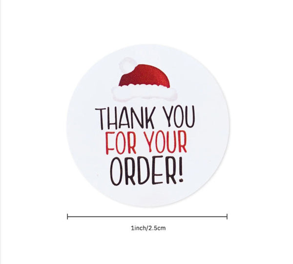 "Christmas Thank you for your order stickers - Thank you Santa Claus labels - 1"" round labels - Message label (2460)"