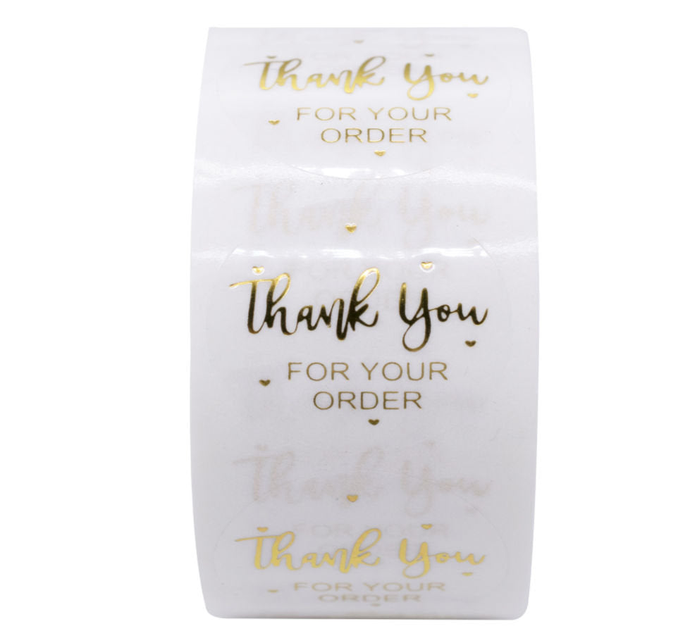 "Thank you for your order stickers - Gold clear stickers - Gold heart - Thank you transparent label - 1"" round - 25mm message label (2466)"