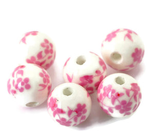 12mm Pink white flower beads - 12mm ceramic round bead (2452)
