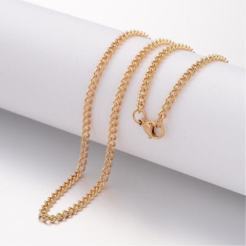 "24"" length - Vacuum Plating 304 Stainless Steel Necklace - Curb Chain - Gold color chain - Chain with Lobster Clasp - 24 inches (2468)"