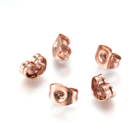 Stainless Steel Earring back stopper - Rose Gold earring stoppers earnut - Stainless Steel Ear Nut - Butterfly - 6mm x 4mm (2473)