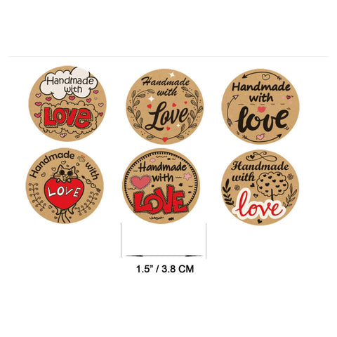 "Handmade with love stickers - Hand made with love labels - 1.5"" round labels - message label - Mixed label (2451)"