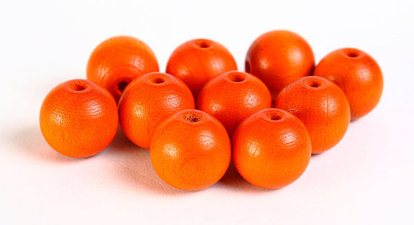 12mm orange Czech beads - 12mm orange round beads - 12mm painted wood beads - 10 pieces (067)
