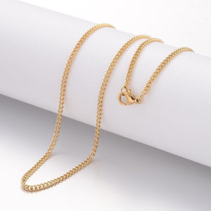 "18"" length - Stainless steel necklace 18"" - Gold color chain - Curb chain necklace with Lobster Clasp - 18 inches (2479)"