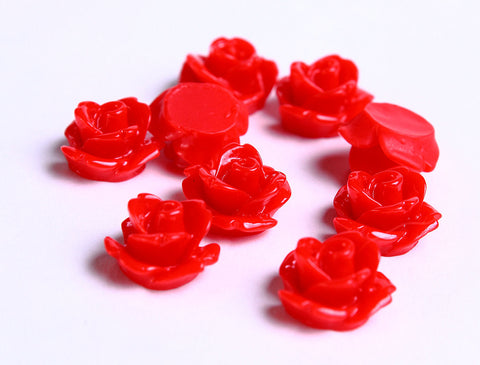 10mm Red flower cabochons - Rosebud cabochons - Rose cabochons - Floral cabochons - Resin flower cabochons - 10 pieces (073)