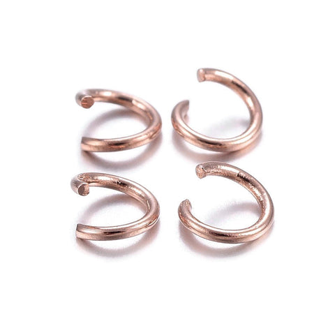 4mm stainless steel jumprings - 4mm rose gold color jump rings - 4mm round jumprings - 4mm split jump rings - 4mm open jump rings (2454)