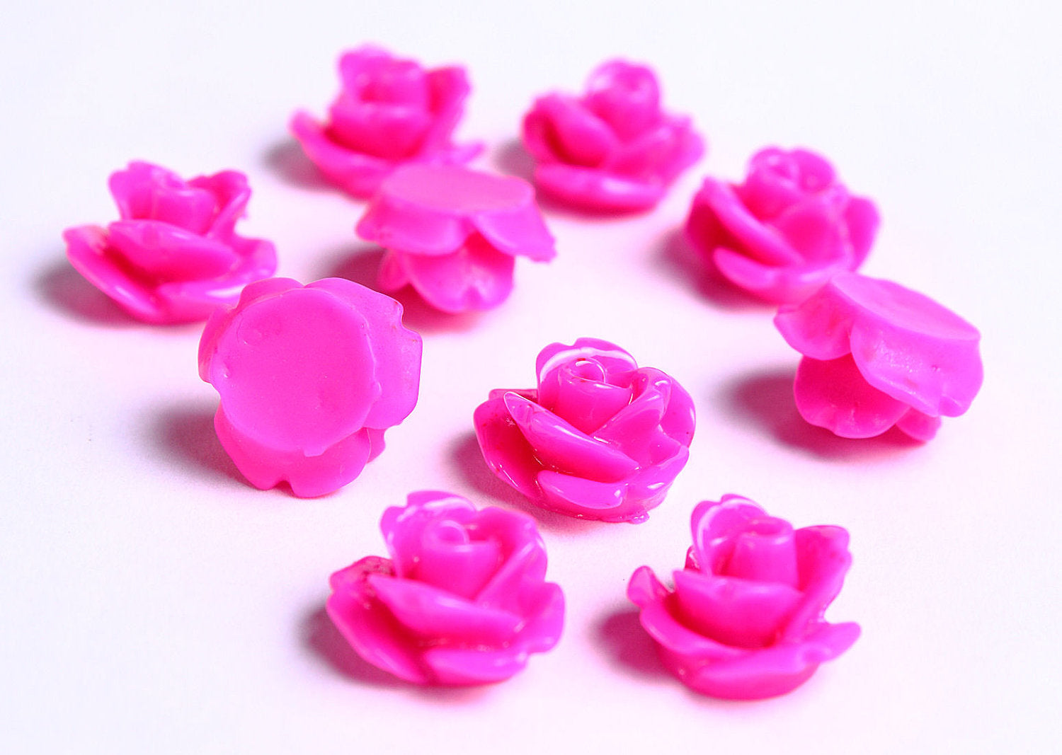 10mm Fuschia rose cabochons - 3D cabochons - resin rosebud cabochon - dark pink cabochons - 10 pieces (086)