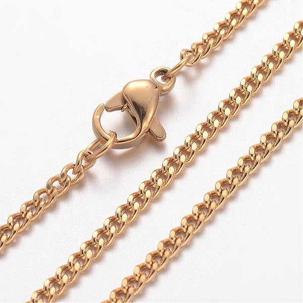 "24"" length - Vacuum Plating 304 Stainless Steel Necklace - Curb Chain - Gold color chain - Chain with Lobster Clasp - 24 inches (2480)"