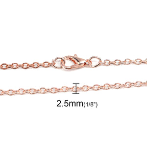 "18"" length - Rose gold color necklace 18"" - Cable Chain with Lobster Clasp - Nickel free - Lead free - 18 inches (2485)"
