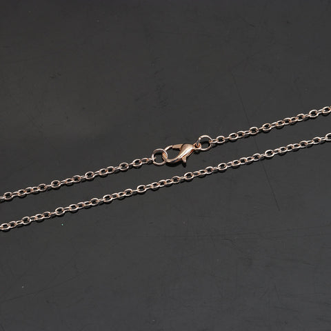 "18"" length - Rose gold color necklace 18"" - Cable Chain with Lobster Clasp - Nickel free - Lead free - 18 inches (2486)"