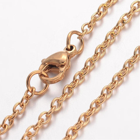 "20"" length - Vacuum Plating 304 Stainless Steel Necklace - Cable Chain - Gold color chain - Cable with Lobster Clasp - 20 inches (2467)"