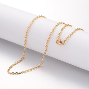 "24"" length - Vacuum Plating 304 Stainless Steel Necklace - Cable Chain - Gold color chain - Chain with Lobster Clasp - 24 inches (2469)"