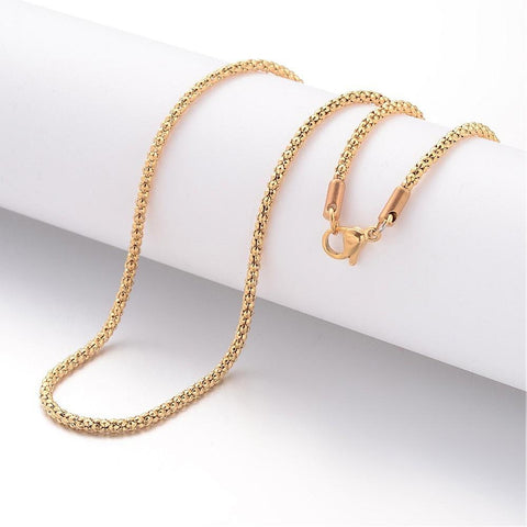 "18"" length - Vacuum Plating 304 Stainless Steel Necklace - Popcorn Chain - Gold color chain - Chain with Lobster Clasp - 18 inches (2471)"