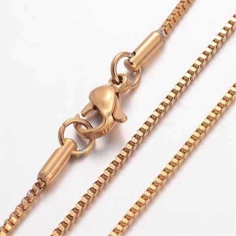 "18"" length - Vacuum Plating 304 Stainless Steel Necklace - Box Chain - Gold color chain - Chain with Lobster Clasp - 18 inches (2472)"