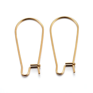Stainless steel Kidney earwire - gold color earring hooks ear wire - Earring Finding - Hoop Earring - 20mm x 11mm (2478)